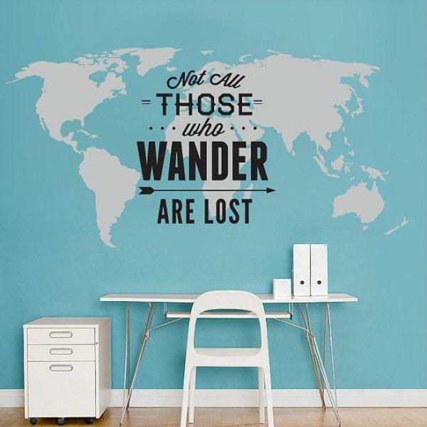 Chambre sticker le plane du monde et citation inspirante
