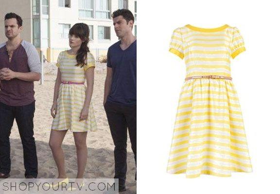 NEW GIRL NEW GIRL: SEASON 3 EPISODE 18 JESS' Yellow Striped Dress - ShopYourTv  Ted Baker Honor Dress