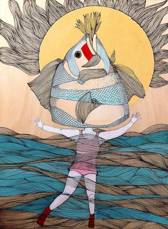 Como pez en el agua. Alexandra Arango. http://www.colectivobicicleta.com/2012/04/ilustracion-como-pez-en-el-agua-y-mas.html