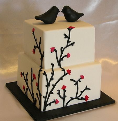 Square 2 tiered cake with flowers and birds by Sugar Rush Confections