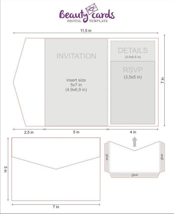 Diy Classic Pocket Wedding Invitation Template 5x7 Tri Fold Etsy Pocket Wedding Invitations Cricut Wedding Invitations Pocket Fold Wedding Invitations