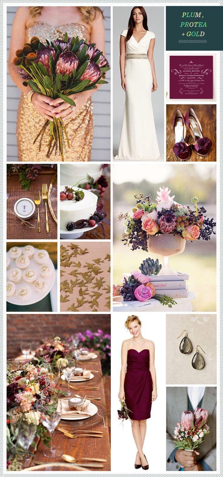 REVEL: Plum, Protea + Gold Wedding Inspiration