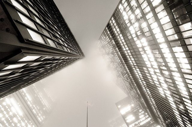Looking up at the TD Tower, Toronto, in the fog. Photo Credit: colink. CreativeCommons.org