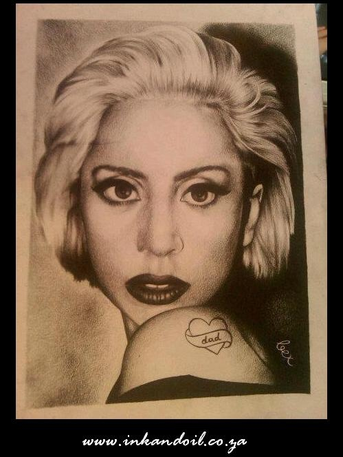 First attempt at Charcoal drawing  Lady Gaga (vomit) on textured paper