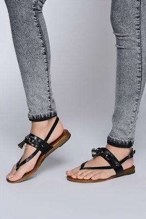 İnci Tek Fiyat 49-59 TL - Hakiki Deri Siyah Sandalet 120118290420 %70 indirimle 59,99TL ile Trendyol da