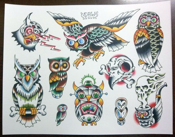 Owls Traditional Tattoo Flash Sheet by DerekBWard on Etsy