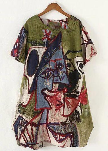 Plus Size Abstract Graffiti Pattern Loose Tunic Dress