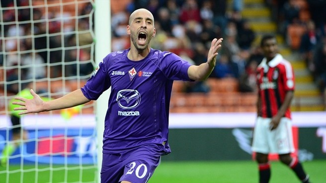 Borja Valero (ACF Fiorentina)  Borja Valero Iglesias of ACF Fiorentina celebrates scoring during an Italian Serie A match against AC Milan