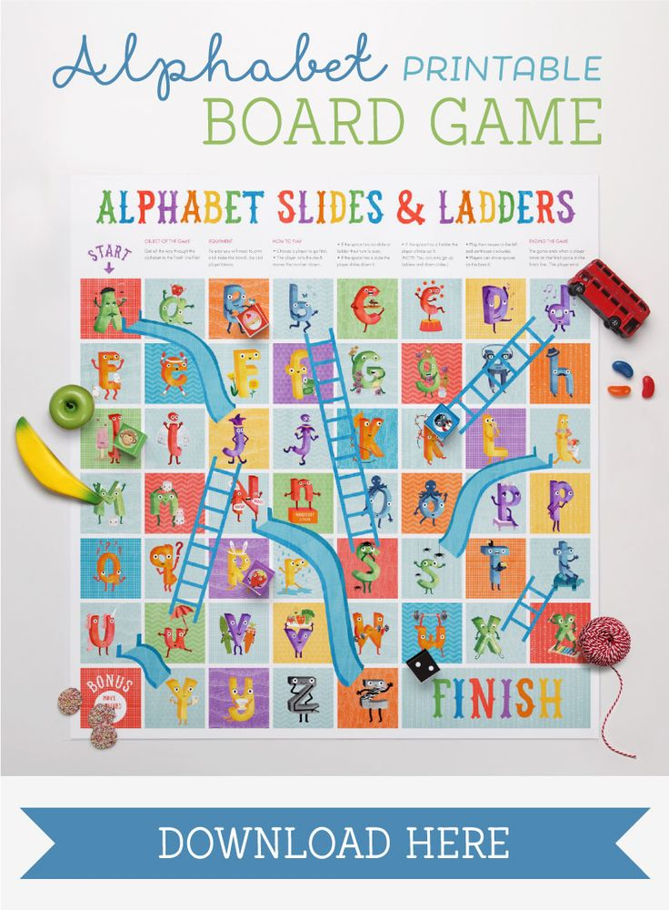 Free printable alphabet Slides and Ladders game.