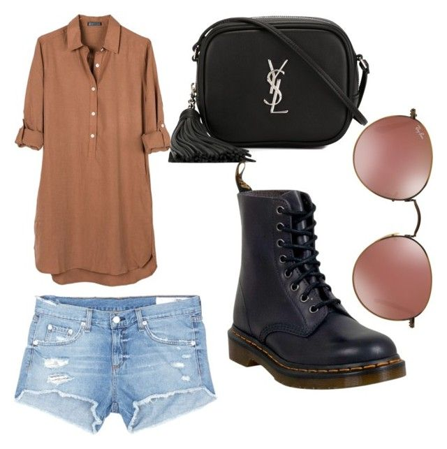 """""""brown"""" by cosmina-styles-alina on Polyvore featuring United by Blue, Yves Saint Laurent, rag & bone/JEAN and Dr. Martens"""