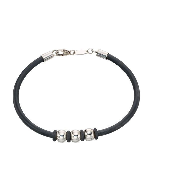 Sterling Silver Men's Steel Ball Rubber Bracelet - With a contemporary and free spirited feel, this stylish bracelet from the must-have Beginnings collection is designed and created with quality at its core using 925 grade sterling silver: http://ow.ly/Xycsa