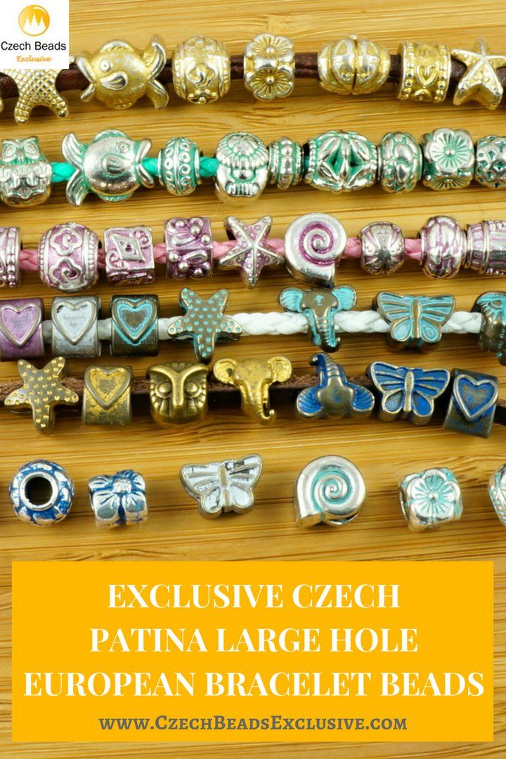 Exclusive Czech Patina Large Hole European Bracelet Beads  6 popular Czech Patina colors - matte gold & silver / turquoise blue & green / blue and pink! - Buy now with discount!  Hurry up - sold out very fast! www.CzechBeadsExclusive.com/+patina+large+hole SAVE them!