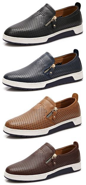 Men Side Zipper Hole Breathable Flat Slip On Casual Leather Shoes