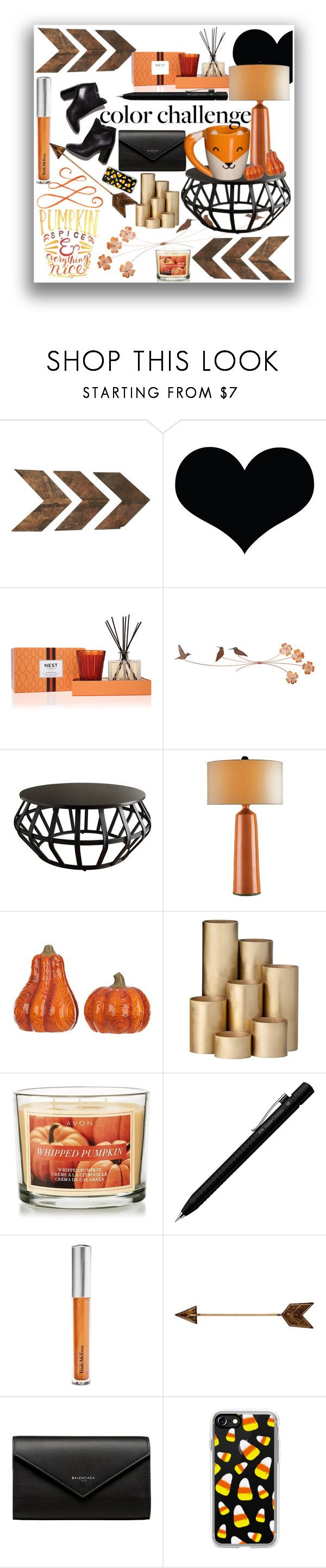 """""""Black and Orange #colorchallenge Contest Entry"""" by charmmurphy ❤ liked on Polyvore featuring interior, interiors, interior design, home, home decor, interior decorating, WALL, Nest Fragrances, Tribecca Home and Currey & Company"""