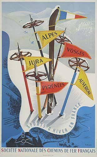 SNCF - Sports d'hiver en France - Alpes, Jura, Pyrénées, Auvergne, Vosges - 1947 - (Vecoux) -