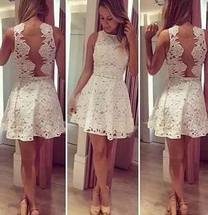 vestido curto de renda sem manga costa com detalhe e tule