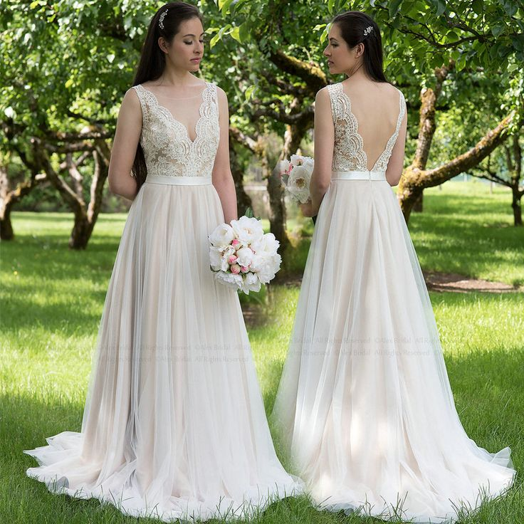 Simple Simple V back Lace Wedding Dress