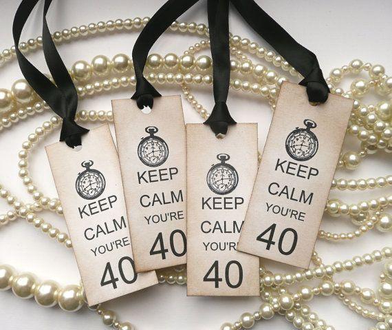 Blijf kalm je bent 40 verjaardag Tags met klok Set van 4