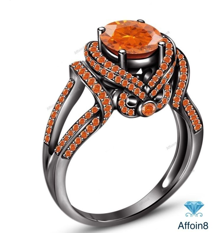 Round Orange Sapphire 925 Silver Solitaire With Accent Women's Engagement Ring #Affoin8 #SolitaireWithAccentsEngagementRing
