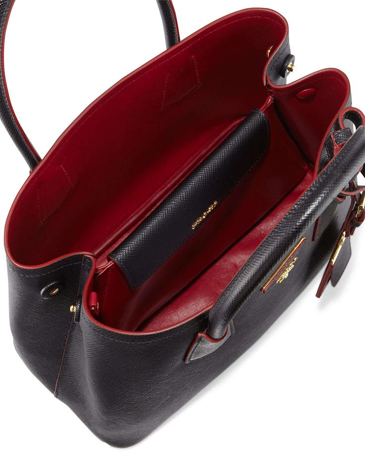 Saffiano Cuir Double Bag, Black/Red (Nero+Ciliegia), Women's - Prada