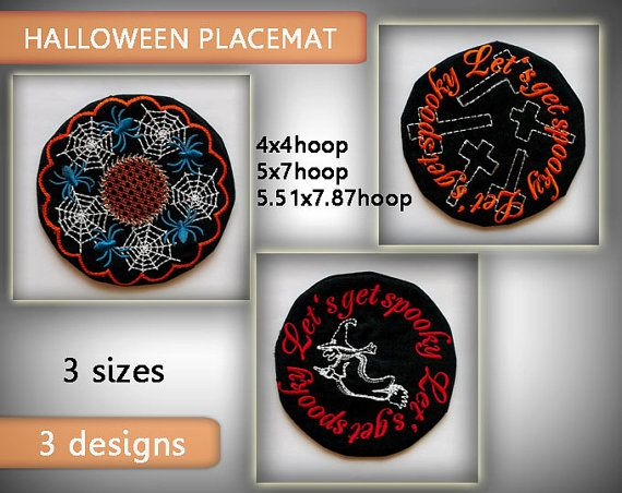 Halloween Placemat  4x4hoop 5x7hoop by EmbroideryRady on Etsy