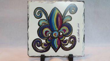Rainbow Fleur de Lis Art - Art on Slate - Original Art - New Orleans Art - French Quarter Decor - New Orleans Decor - Home Decor - Art Gift by SerenityoftheSouth on Etsy #home #décor #fleurdelis #neworleans #slate #original #art