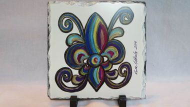 Rainbow Fleur de Lis Art - Art on Slate - Original Art - New Orleans Art - French Quarter Decor - New Orleans Decor - Home Decor - Art Gift by SerenityoftheSouth on Etsy #home #décor #fleurdelis #neworleans #slate #original #art