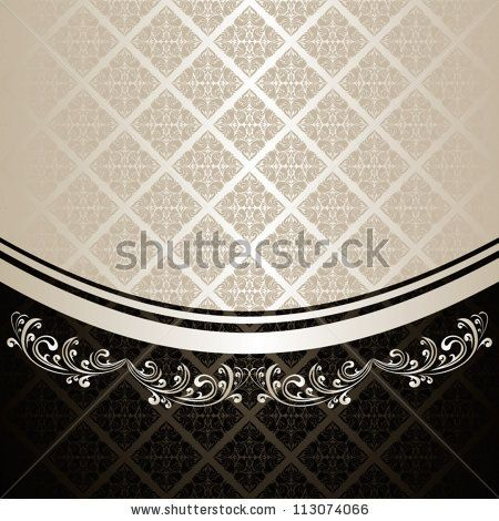 Luxury Background decorated a Vintage ornament: silver and black. - stock vector