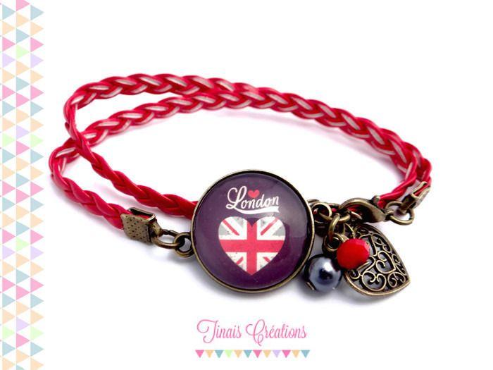 Bracelet cabochon verre bronze - I LOVE LONDON - coeur breloque perles rouge gris bleu : Bracelet par tinais-creations