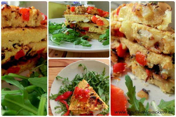 Cizrnová frittata s cuketou, paprikou a tempehem Chickpea frittata with zucchini, red pepper and tempeh