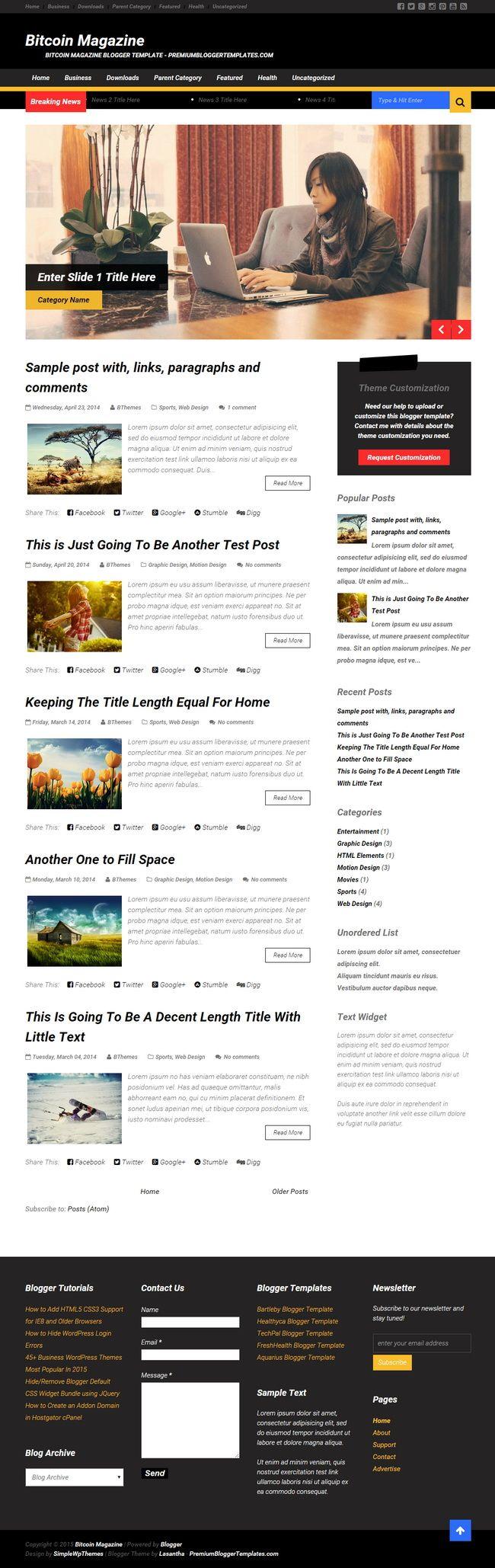 Bitcoin Magazine Blogger Template: Bitcoin Magazine Is Beautiful,  Responsive, 2 Columns Blogger Template