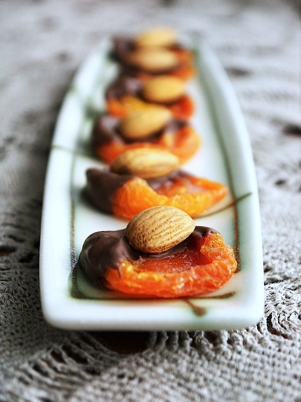 Chocolate Apricot & Almonds - a sweet treat would be great as a sweet canapé at a cocktail party or served with coffee and tea at the end of a dinner party