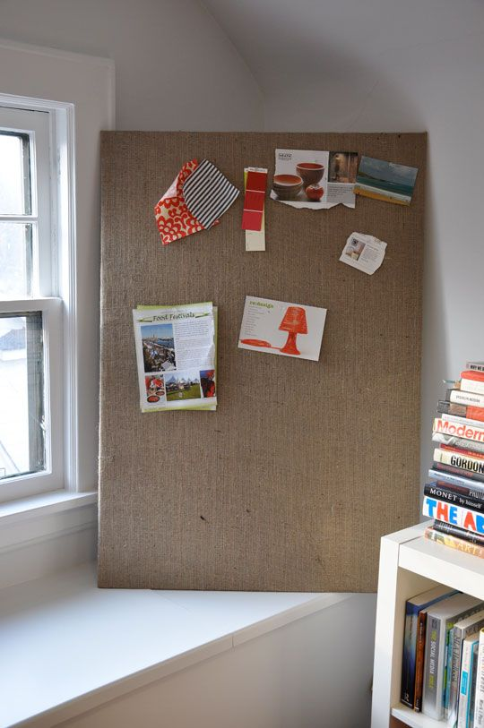 burlap covered homasote bulletin board - so much cheaper than cork and more durable - going to frame in a shaby chic frame. Love this! For the fridge to keep things looking neat :)