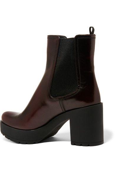 Prada - Glossed-leather Platform Chelsea Boots - Burgundy - IT41.5