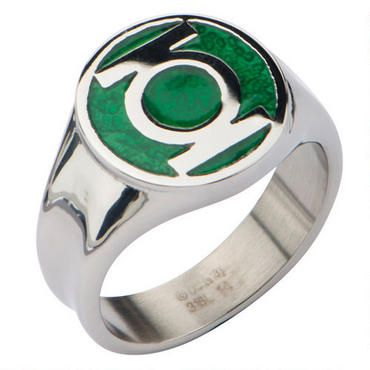 """Join the Green Lantern Corps!  This stainless steel ring features the Green Lantern logo.  With a green enamel surface and the Green Lantern logo, this ring echoes the """"Power Ring"""" used to summon great powers."""