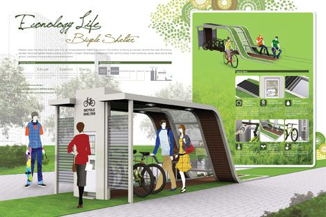 Econology Life Bicycle Shelter Combines Nature and Eco Friendly Technology - Tuvie | http://www.tuvie.com/econology-life-bicycle-shelter-combines-nature-and-eco-friendly-technology/