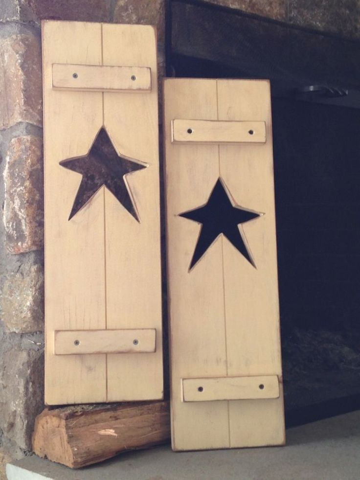 Primitive Rustic Set of 2 Star Shutters/ Antique Ivory #Handcrafted #RusticPrimitive