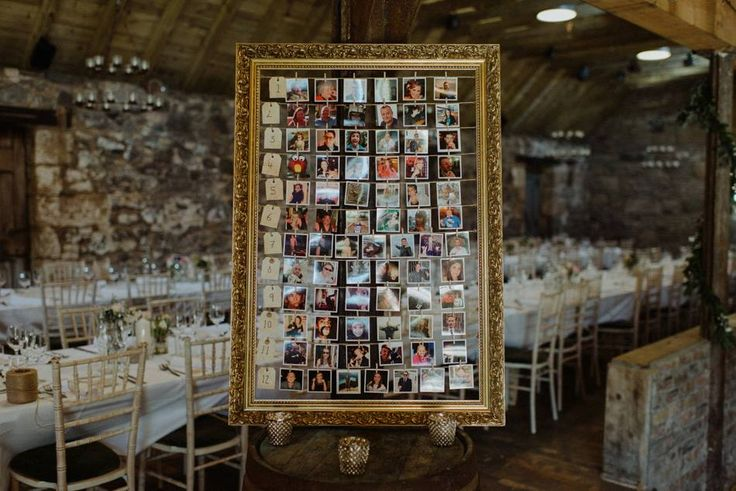 Polaroid Photo Table Plan in an antique gold frame - Byre at Inchyra