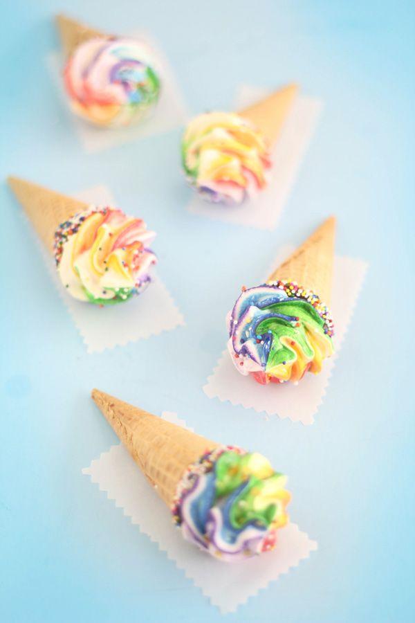 Rainbow Meringue Truffle Cones | Sprinkle Bakes