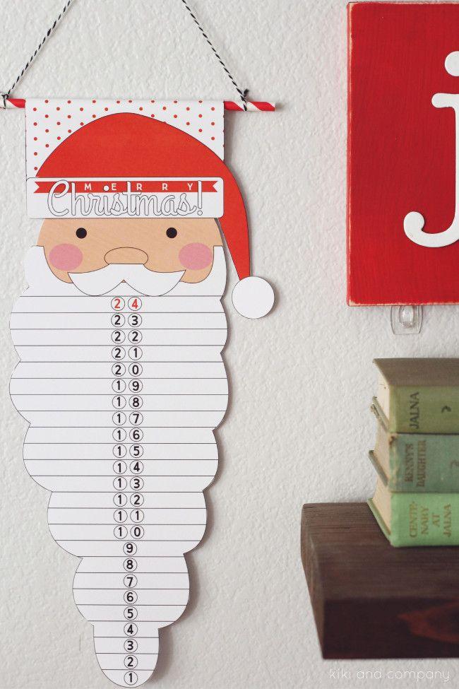 Christmas printable Santa Countdown! Fun holiday idea for the kids. | www.thirtyhandmadedays.com::
