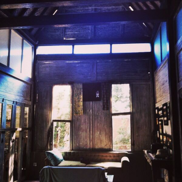 Renovated 200 years old Javanese house interior. Early lunch time light. Bali Indonesia