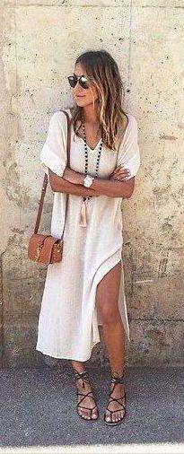 #summer #fashion / slit dress