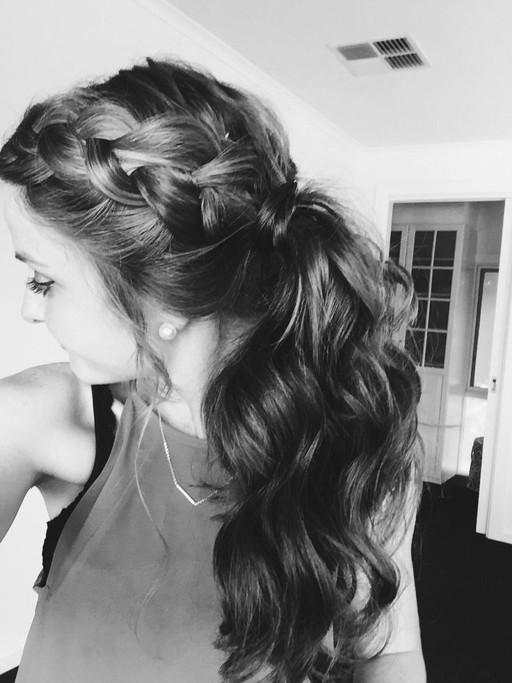 Easy chic hairstyle <3 Dutch braid into pony tail with hair wrapped around the elastic.  I pulled small pieces out at the front and curled them to add a little more formality to the style as well. :)))