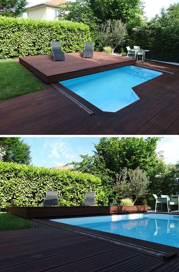 Idée de conception de plate-forme – cette plate-forme en bois augmentée est en fait une couverture coulissante de piscine