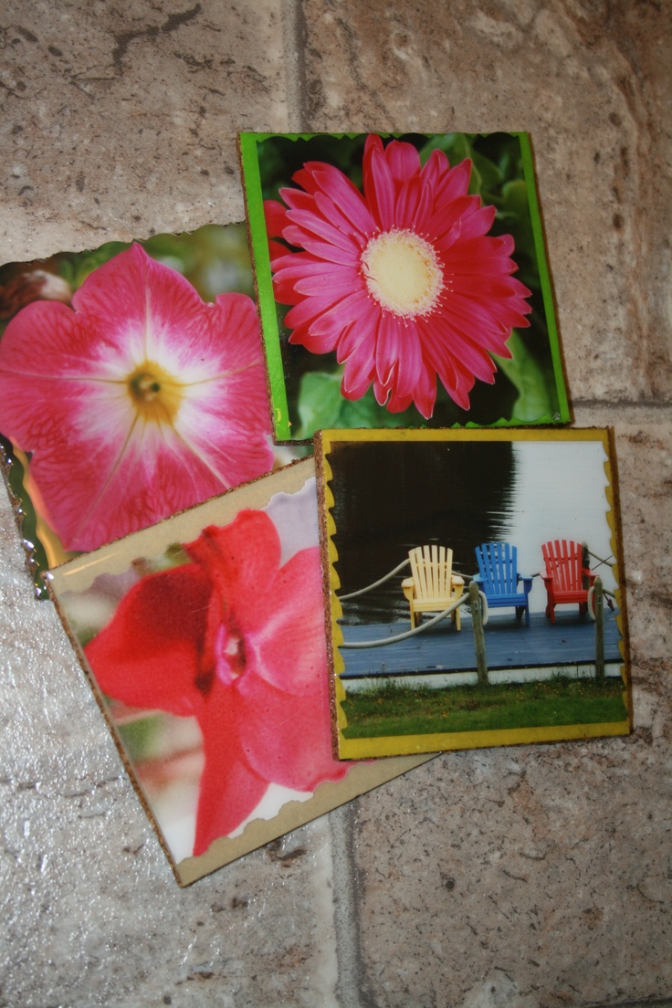 Homemade coasters!  I make these and can put any picture or embellishment on them!: Homemade Coasters