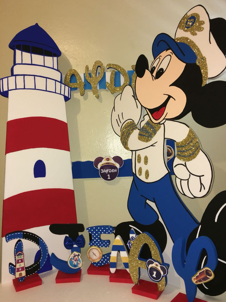 Mickey Mouse character 5ft white overcoat name letters lighthouse and photobooth frame