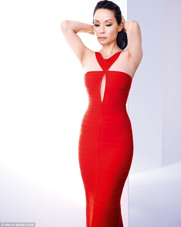 Absolutely, positively STUNNING. Lucy Liu in a red bandage dress by Hervé Léger. I love this woman.