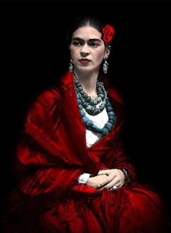 One of the few colored photos of Frida Kahlo 1930. Photograph by Edward Weston.