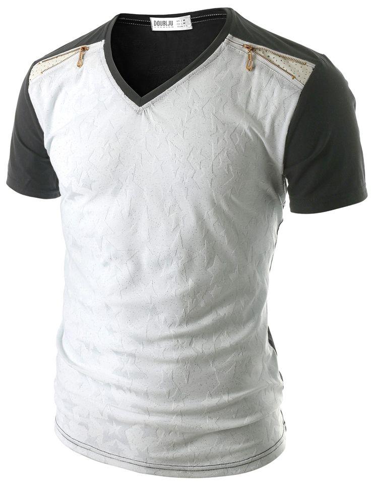 Doublju Men's Embossed Pattern V-neck T-Shirt (CMTTS05) #doublju
