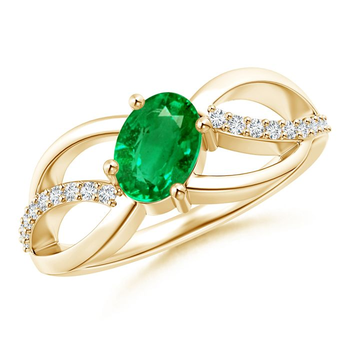 Angara Solitaire Oval Emerald Criss-Cross Ring With Linear Diamond Accents 5pM17